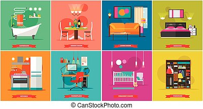 Home interior vector illustration in flat style. House design with furniture, kitchen, bathroom, dining room, workplace, cabinet.