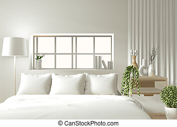 Minimal Bedroom Interior With Plants Book On Wooden Table Next To Bed In Minimal Bedroom Interior With Plants And View On Canstock