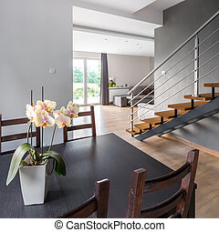 Home interior with dining table