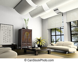 Home interior  with element of Chinese furniture 3D rendering