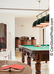 Home interior with pool table