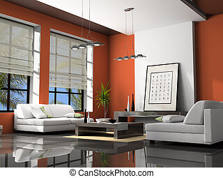 Home interior with sofas red 3D rendering