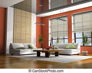Home interior with table and sofas 3D rendering