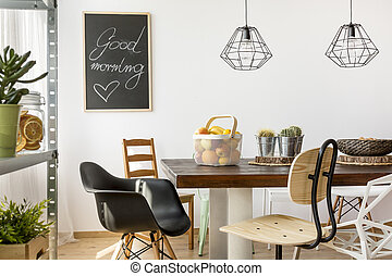 Home interior with table