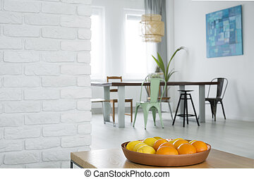 Home interior with wood table