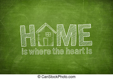 Home is where the heart is text concept on blackboard