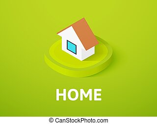 Home isometric icon, isolated on color background
