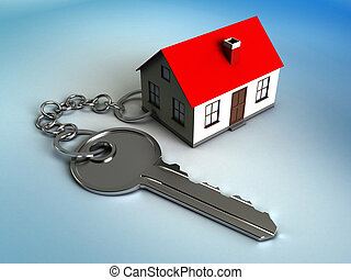 home key - 3d illustration of house model with key, own home...