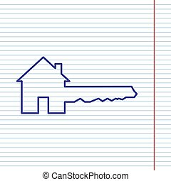 Home Key sign. Vector. Navy line icon on notebook paper as background with red line for field.