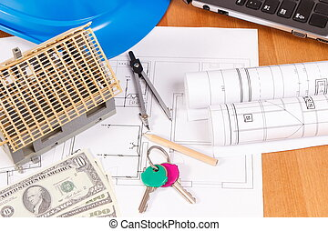 Home keys, currencies dollar, electrical diagrams and accessories for engineer jobs on desk, building home cost concept