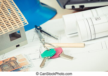 Home keys, currencies euro, electrical diagrams and accessories for engineer jobs, building home cost concept