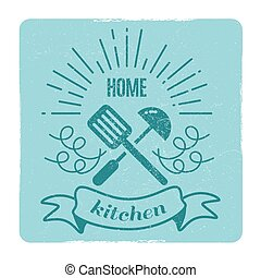 Home kitchen, home cooking label design