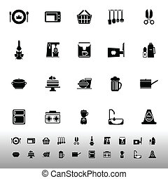 Home kitchen icons on white background