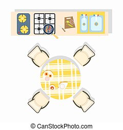 Home Kitchen Plan Design Vector Illustration