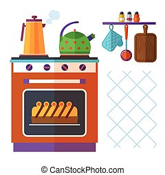 Home kitchenware vector concept with stove, kettle, coffee pot and cake