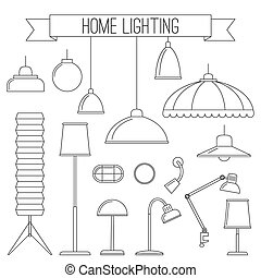 Home lamps thin line icons.