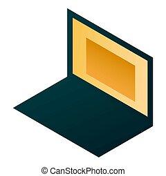 Home laptop icon, isometric style