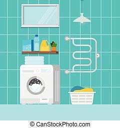 Home laundry with washing machine interior scene.
