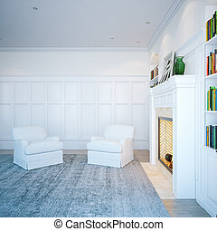 Home library in classic white room. Living interior with fireplace . 3D render
