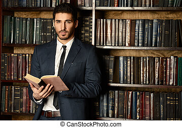 home library - Respectable young man in the old library....