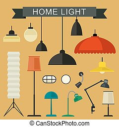 Home light icons set.