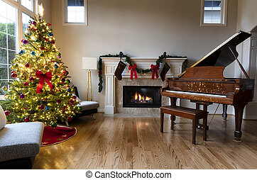 Home living room decorated for the Christmas or New Year holiday
