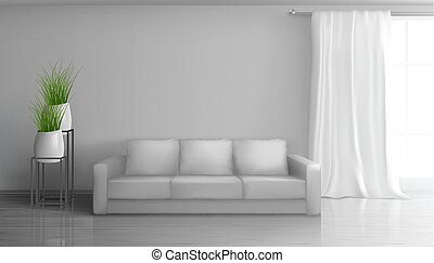 Home living room interior realistic vector mock
