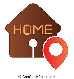 Home location flat icon. House with map pin color icons in trendy flat style. Navigation gradient style design, designed for web and app. Eps 10.