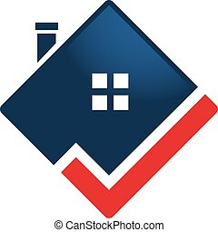 Home Logo Template with check mark.