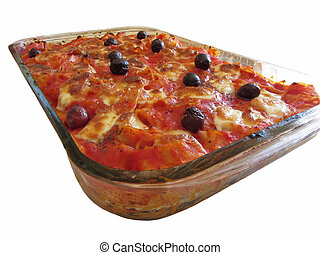 Home made baked pasta on white background - Home made ...