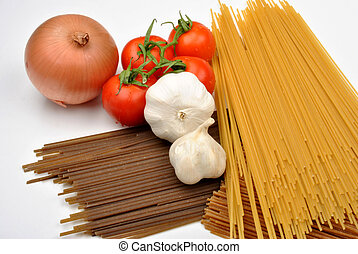 home made basil spaghetti with organic vegetable