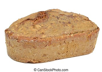 A loaf of home made brown bread on a white background