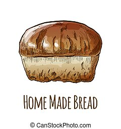 Home made bread, hand drawn vector illustration