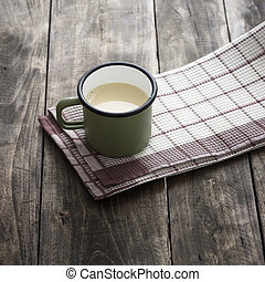 Home made fresh soy milk on wooden background
