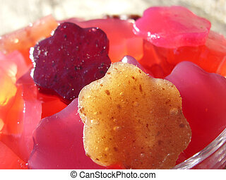 Home made gummies flowers with beetroot and agar agar