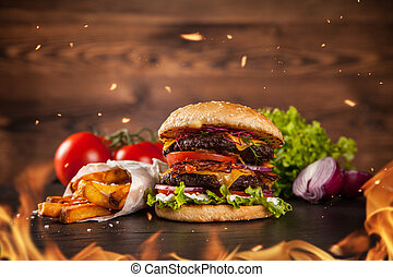 Home made hamburger with lettuce and cheese - Delicious home...