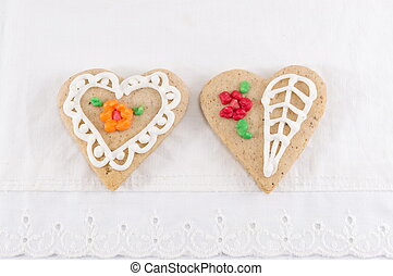Home made heart shaped decorated cookies
