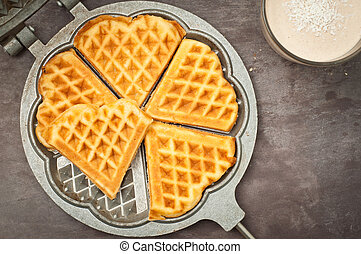 Home made heart shaped waffles
