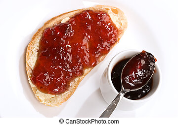 home made jam, Piece of bread with jam
