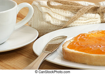 home made jam with toast on a plate