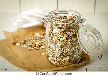 Home made musli in a jar of glass