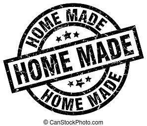 home made round grunge black stamp