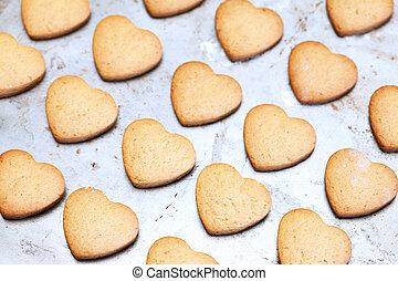 Home made shortbread heart shaped cookies on baking tray
