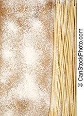 home made spaghetti with flour