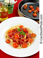 home made spaghetti with organic baby tomatoes