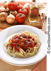 home made spaghetti with organic tomato sauce