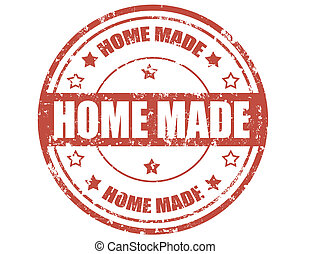 Home made-stamp - Grunge rubber stamp with text Home...