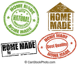 Set of grunge rubber stamps with text home made written inside, vector illustration