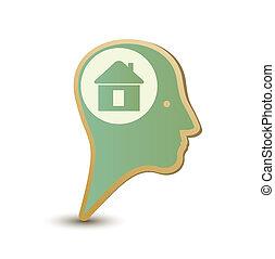 Home man. Label sticker