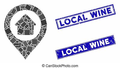 Home Marker Mosaic and Grunge Rectangle Local Wine Seals